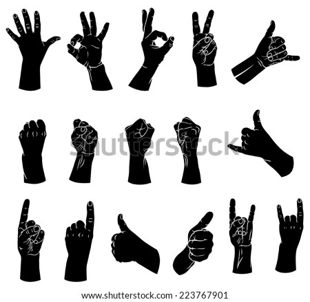 Vector illustrations of silhouettes set of hands showing different gestures - stock vector