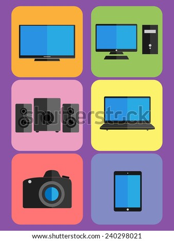 Vector illustrations of technology - digital, power, electronics, device: Tv, computer, satellites, notebook, camera, tablet.  - stock vector