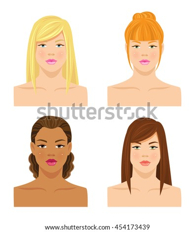 Vector illustrations of various hair style and different skin tone isolated on white background.