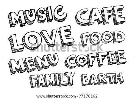 Vector illustrations of words music, cafe, love, food, menu, coffee, family, earth
