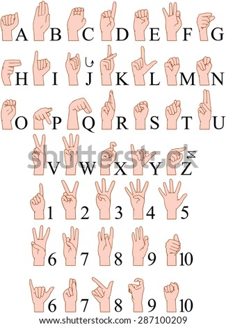 Vector illustrations pack of sign language ABC and numbers. - stock vector
