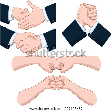 Vector illustrations pack of various hand shakes and fist bumps