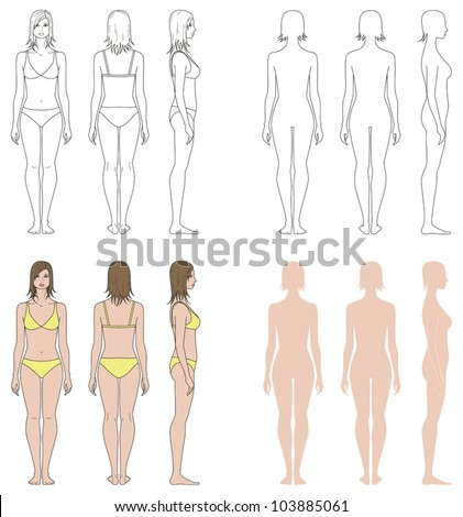 Vector illustrations. Templates collection of woman's figure. Front, back, side views - stock vector