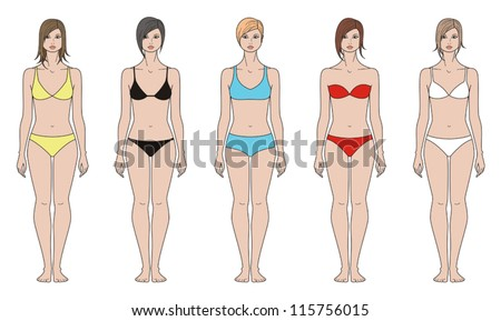 Vector illustrations. Templates collection of woman's figure. Various options for hairstyles and underwear - stock vector