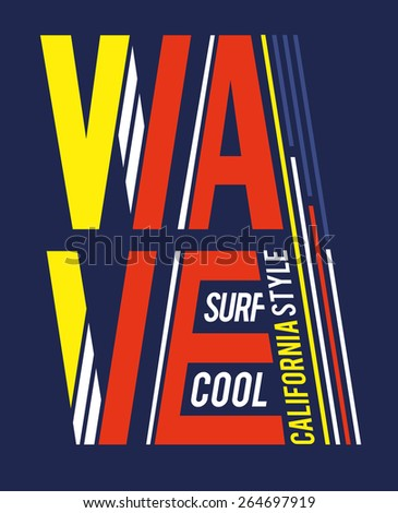 vector illustrations wave surfing cool California style, dynamic graphics, design for t-shirts,vintage graphic design - stock vector