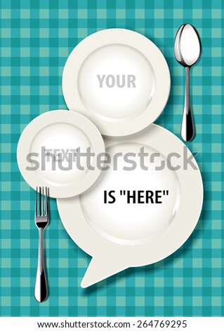Vector illustrator of white plate in speak bubbles form with spoon and fork on Seamless checked background. - stock vector