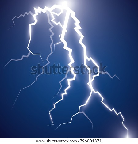 The Effect Of Electric Lighting. Thunder Of Lightning On A Dark Blue