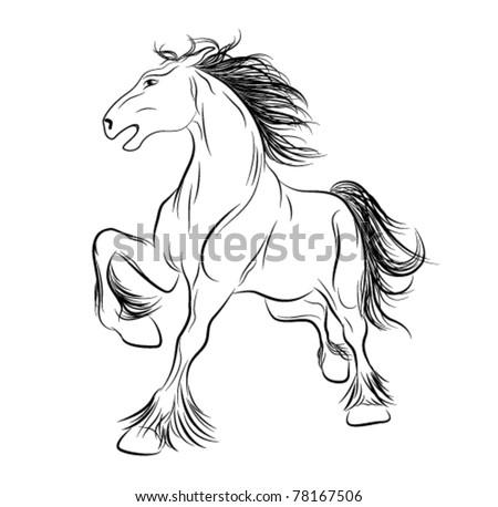 Vector image a horse, tattoo - stock vector