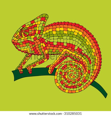 vector image abstract multicolored mosaic chameleon, reptiles, iguanas, lizards, drawn by hand, pencil, pen. Chameleon sitting on a branch.  - stock vector