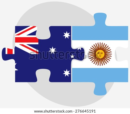 Vector Image - Australia and Argentina Flags in puzzle isolated on white background - stock vector