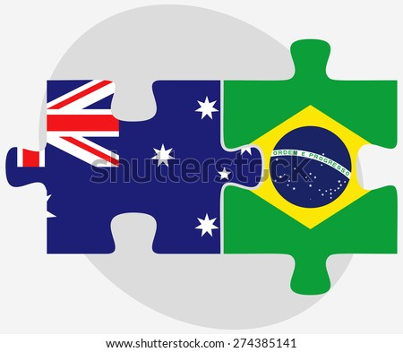 Vector Image - Australia and Brazil Flags in puzzle isolated on white background - stock vector