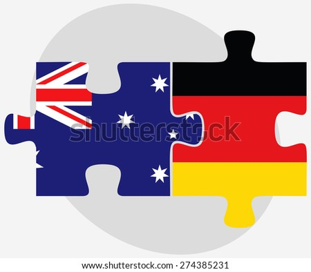 Vector Image - Australia and Germany Flags in puzzle isolated on white background - stock vector