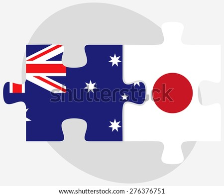 Vector Image - Australia and Japan Flags in puzzle isolated on white background - stock vector