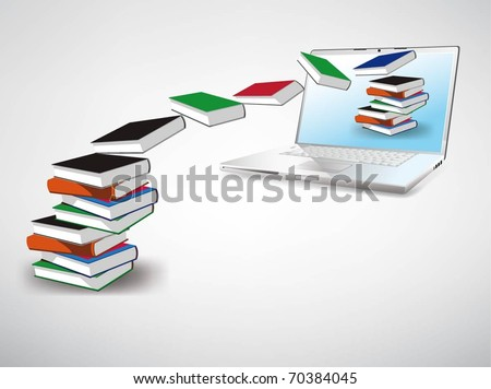Vector Image, books fly into your laptop - stock vector