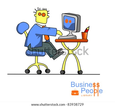 Vector image businessman with a computer at a table