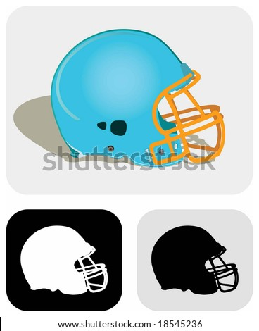 Vector image (color and icon/symbol) of a modern American football helmet. - stock vector