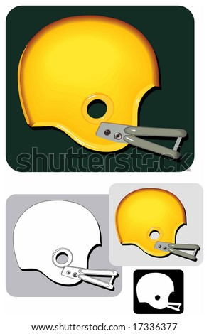 Vector image (color, b&w and icon/symbol) of a classic American football helmet. - stock vector