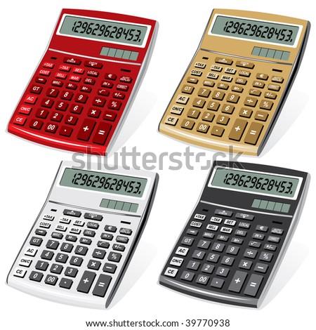 vector image colored calculators - stock vector