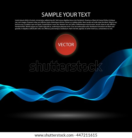 Vector image Colorful abstract waves on black background