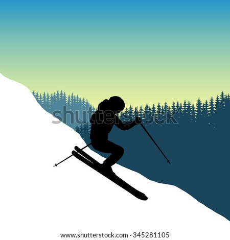 Vector Image coming down from the mountainside at a speed skier. Safety. Winter sport. The descent from the mountains in the background of mountains and dense forests. Jump while descending skiers. - stock vector