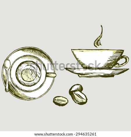 Vector image. Cup of hot tea and kofya - stock vector
