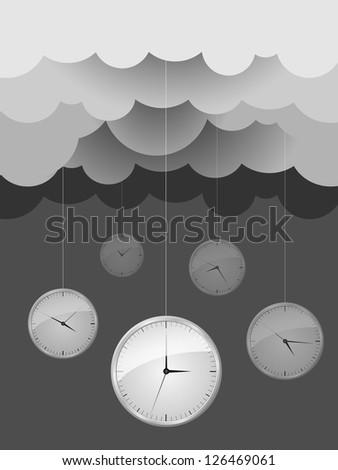Vector Image, Dark gray clouds and clocks. design idea - stock vector