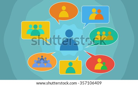 Vector image depicting multifaceted societal interactions - stock vector