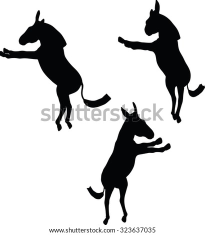 Vector Image, donkey silhouette, in buck pose, isolated on white background  - stock vector