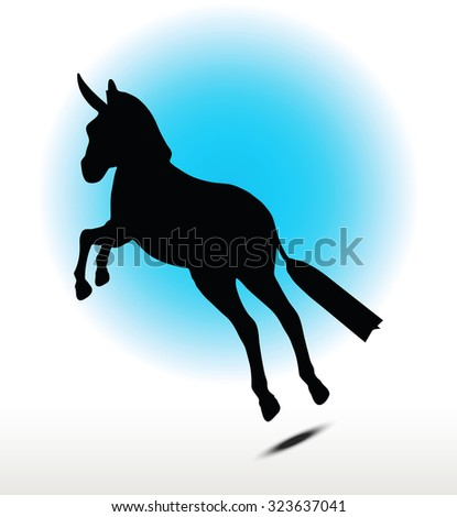 Vector Image, donkey silhouette, in leap pose, isolated on white background