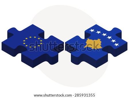 Vector Image -  European Union and Kosovo Flags in puzzle isolated on white background