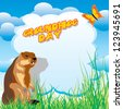 vector image for greeting card of groundhog day - stock photo