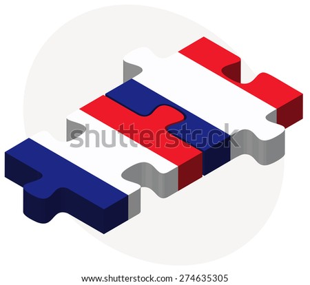 Vector Image - France and France Flags in puzzle isolated on white background
