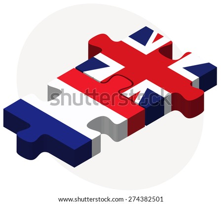 Vector Image - France and United Kingdom Flags in puzzle isolated on white background - stock vector