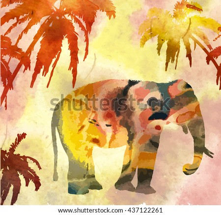 Vector image hand drawn elephant - stock vector