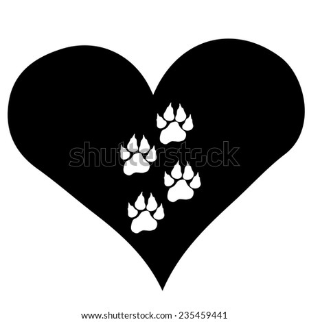 Hand Drawn Doodle Animal Footprint Heart Stock ...