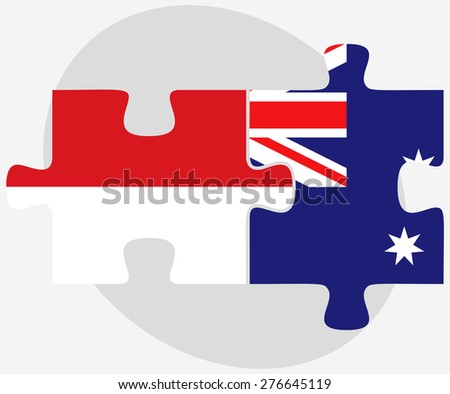 Vector Image - Indonesia and Australia Flags in puzzle isolated on white background - stock vector