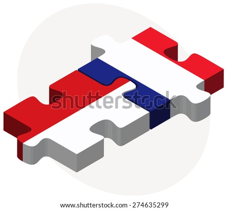 Vector Image - Indonesia and France Flags in puzzle isolated on white background