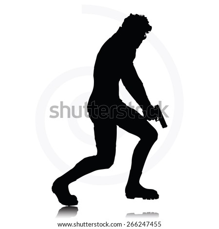 Vector Image - man with a gun pointing silhouette isolated on white background - stock vector