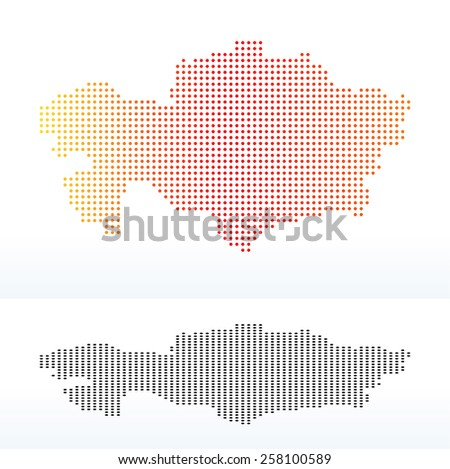 Vector Image -  Map of Republic of Kazakhstan with Dot Pattern - stock vector