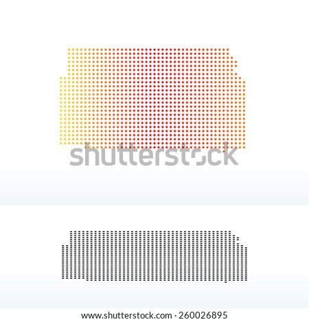 Vector Image - Map of USA Kansas State with Dot Pattern - stock vector
