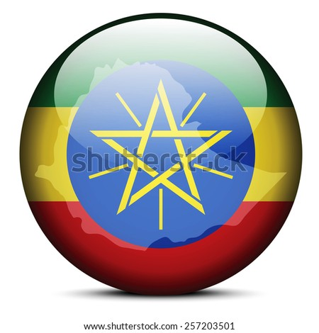Vector Image - Map on flag button of Federal Democratic Republic of Ethiopia