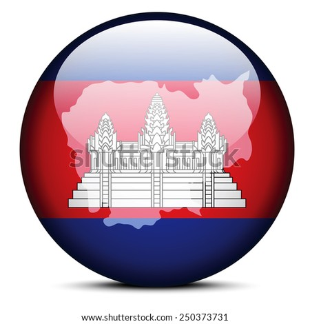 Vector Image - Map on flag button of Kingdom of Cambodia - stock vector
