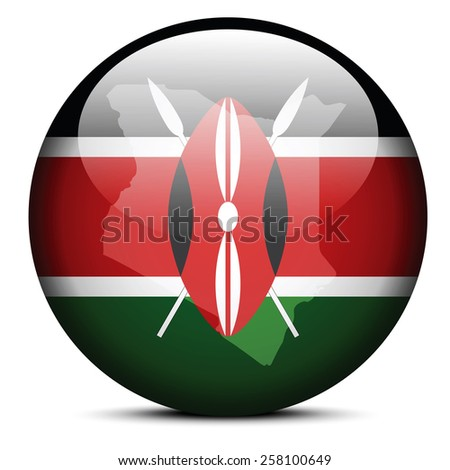 Vector Image -  Map on flag button of Republic of Kenya - stock vector