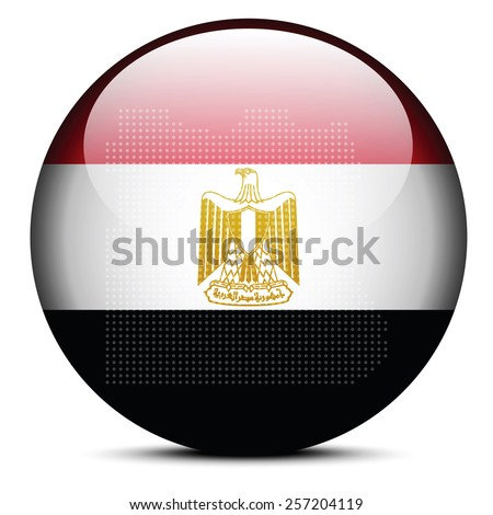 Vector Image - Map with Dot Pattern on flag button of Arab Republic of Egypt - stock vector