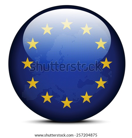 Vector Image - Map with Dot Pattern on flag button of Continent of Europe - stock vector