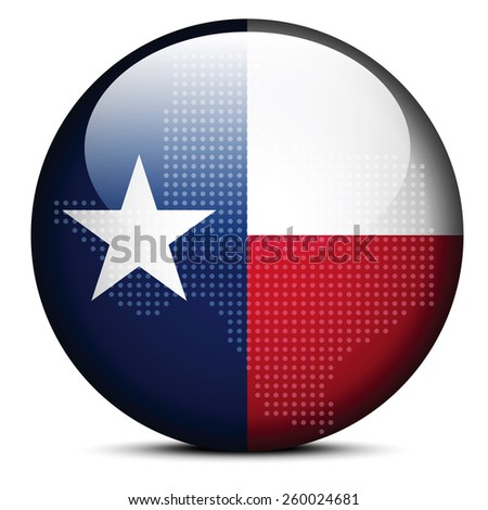 Vector Image - Map with Dot Pattern on flag button of USA Texas State - stock vector