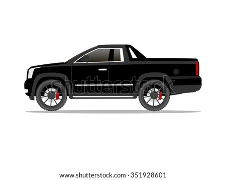 Vector image of a black pickup truck two door with black wheels
