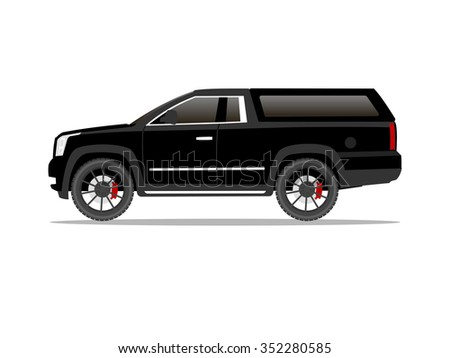 Vector image of a black pickup truck two door with black wheels and cap