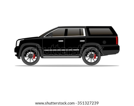 Vector image of a black pickup truck with black wheels and cap