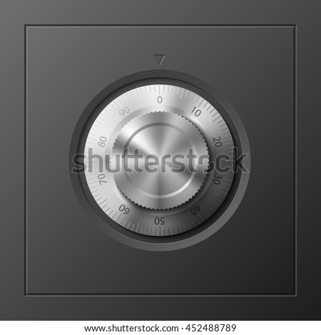 Vector Image of a Black safe. Armored box background. The door of a bank vault with a combination lock.